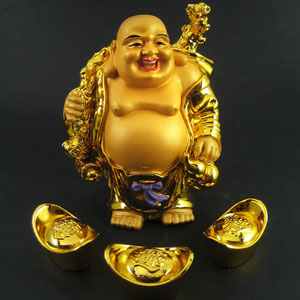 The golden, pot-bellied, bald-headed, breasticled Buddha who watches over all who engage broken appliances in mortal combat.