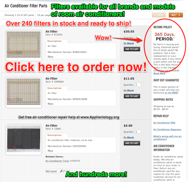 Air Conditioner Filter Parts